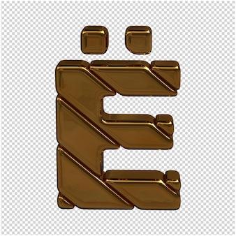 Gouden letter van het russische alfabet 3d-rendering Premium Psd