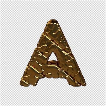 Gouden letters gemaakt van ruwe diagonale blokken. uitzicht van boven. 3d hoofdletter a