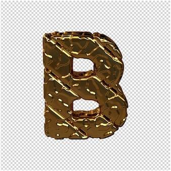 Gouden letters gemaakt van ruwe diagonale blokken. uitzicht van boven. 3d-hoofdletter b