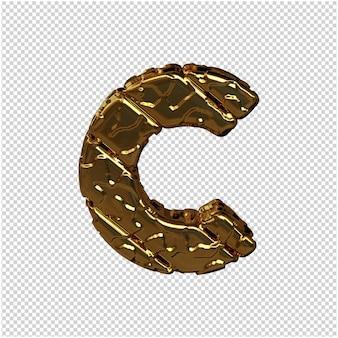Gouden letters gemaakt van ruwe diagonale blokken. uitzicht van boven. 3d-hoofdletter c