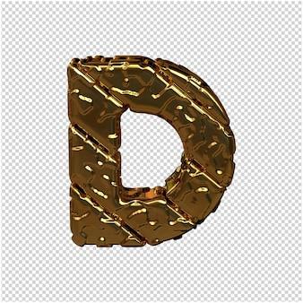 Gouden letters gemaakt van ruwe diagonale blokken. uitzicht van boven. 3d-hoofdletter d