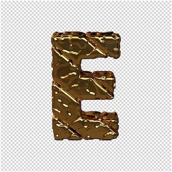 Gouden letters gemaakt van ruwe diagonale blokken. uitzicht van boven. 3d hoofdletter e