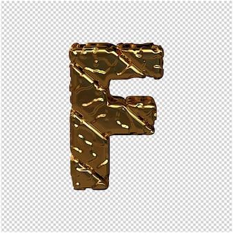Gouden letters gemaakt van ruwe diagonale blokken. uitzicht van boven. 3d hoofdletter f
