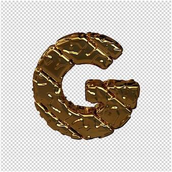 Gouden letters gemaakt van ruwe diagonale blokken. uitzicht van boven. 3d hoofdletter g