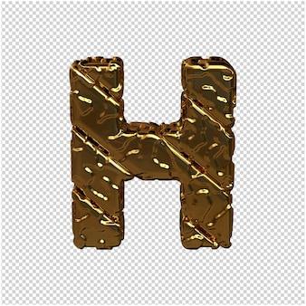 Gouden letters gemaakt van ruwe diagonale blokken. uitzicht van boven. 3d-hoofdletter h
