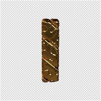Gouden letters gemaakt van ruwe diagonale blokken. uitzicht van boven. 3d hoofdletter i