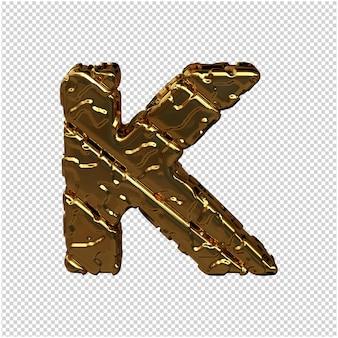 Gouden letters gemaakt van ruwe diagonale blokken. uitzicht van boven. 3d hoofdletter k