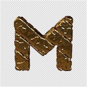 Gouden letters gemaakt van ruwe diagonale blokken. uitzicht van boven. 3d hoofdletter m