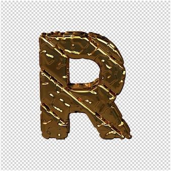 Gouden letters gemaakt van ruwe diagonale blokken. uitzicht van boven. 3d-hoofdletter r