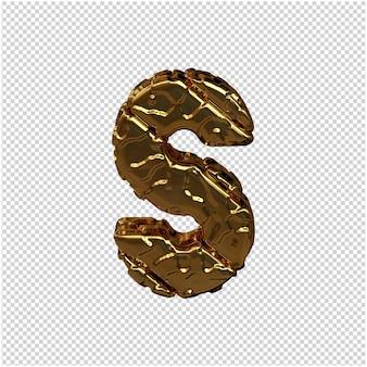 Gouden letters gemaakt van ruwe diagonale blokken. uitzicht van boven. 3d-hoofdletter s
