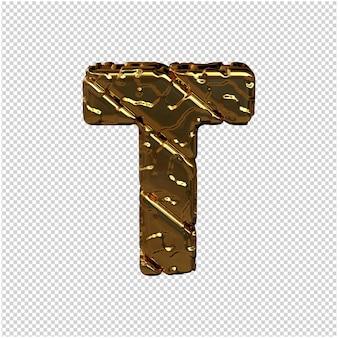 Gouden letters gemaakt van ruwe diagonale blokken. uitzicht van boven. 3d-hoofdletter t