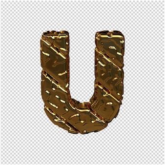 Gouden letters gemaakt van ruwe diagonale blokken. uitzicht van boven. 3d hoofdletter u