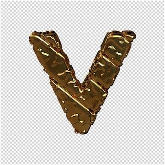 Gouden letters gemaakt van ruwe diagonale blokken. uitzicht van boven. 3d-hoofdletter v