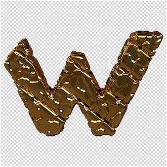 Gouden letters gemaakt van ruwe diagonale blokken. uitzicht van boven. 3d-hoofdletter w