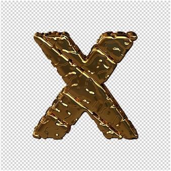 Gouden letters gemaakt van ruwe diagonale blokken. uitzicht van boven. 3d-hoofdletter x
