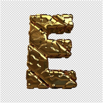 Gouden letters van ongepolijste diagonale staven. 3d-letter e