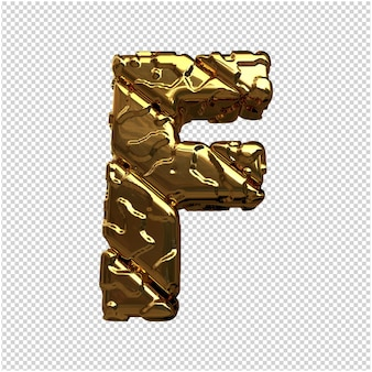 Gouden letters van ongepolijste diagonale staven. 3d-letter f