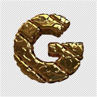 Gouden letters van ongepolijste diagonale staven. 3d-letter g