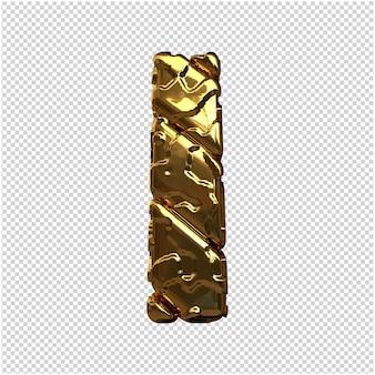 Gouden letters van ongepolijste diagonale staven. 3d-letter ik
