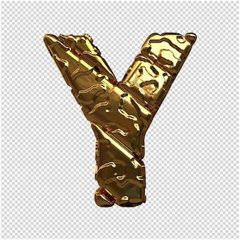 Gouden letters van ongepolijste diagonale staven. 3d-letter ja