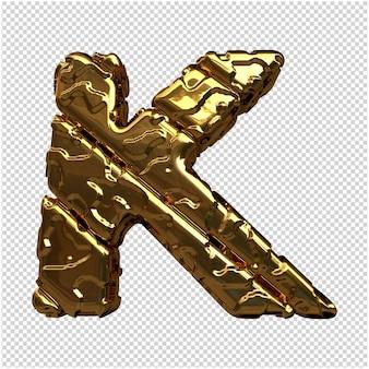 Gouden letters van ongepolijste diagonale staven. 3d-letter k
