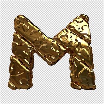 Gouden letters van ongepolijste diagonale staven. 3d-letter m