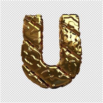 Gouden letters van ongepolijste diagonale staven. 3d letter u