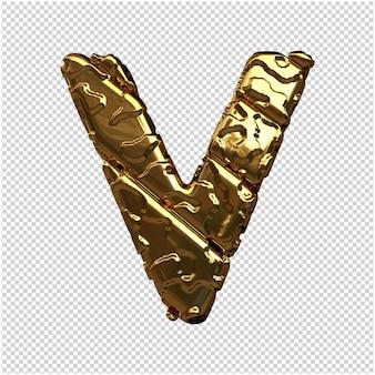 Gouden letters van ongepolijste diagonale staven. 3d-letter v