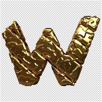 Gouden letters van ongepolijste diagonale staven. 3d-letter w