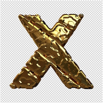 Gouden letters van ongepolijste diagonale staven. 3d-letter x