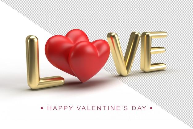 Gouden liefde belettering met rode harten met een pijl van de cupido in 3d-weergave geïsoleerd