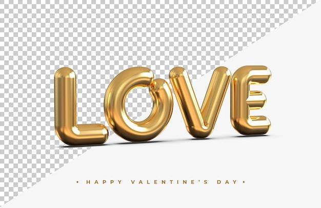 Gouden liefde woord in 3d-rendering geïsoleerd