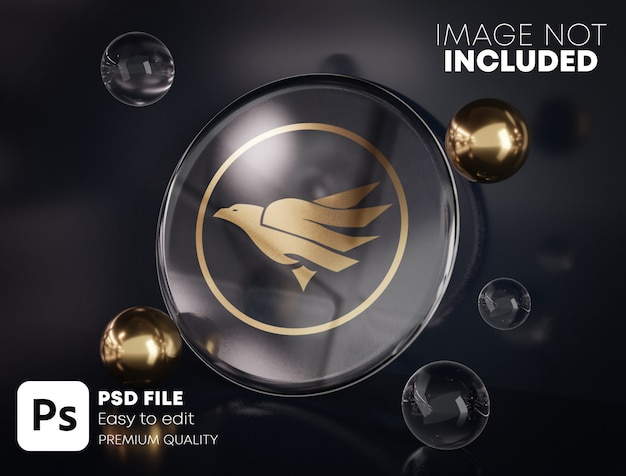 Gouden logo mockup op ronde glas tussen goud en glas bubbels. zwarte achtergrond. Premium Psd