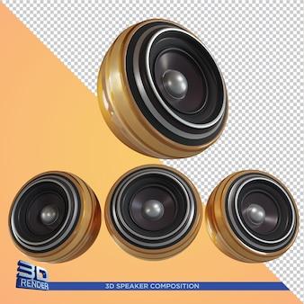 Gouden luidspreker 3d-rendering voor flyer-element