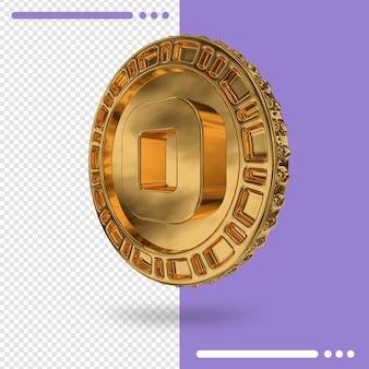 Gouden muntstuk en nummer in 3d-rendering