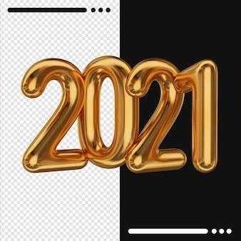 Gouden nieuwjaar 2021 in 3d-rendering
