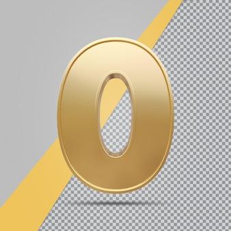 Gouden nummer 0 3d luxe weergave