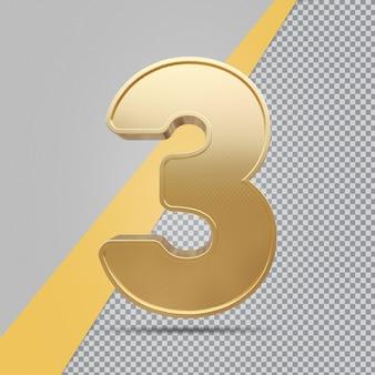 Gouden nummer 3 3d luxe weergave