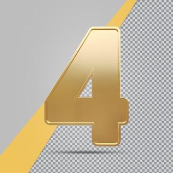 Gouden nummer 4 3d luxe weergave