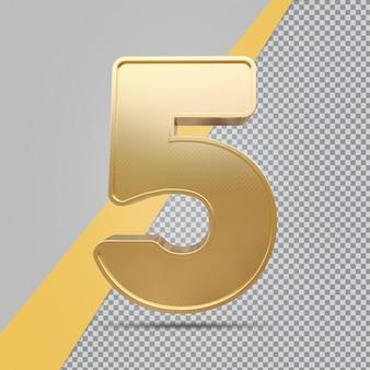 Gouden nummer 5 3d luxe weergave