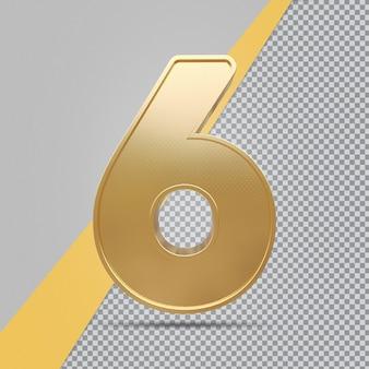 Gouden nummer 6 3d luxe weergave