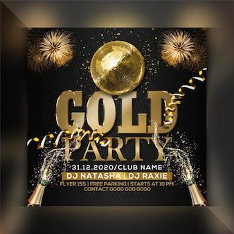 Gouden partij flyer-sjabloon