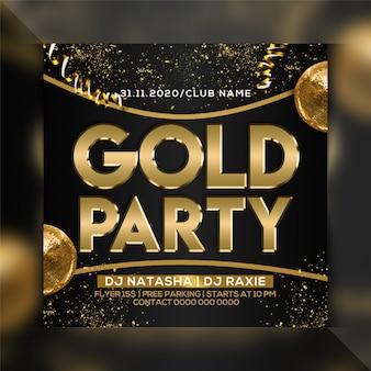 Gouden partij folder sjabloon