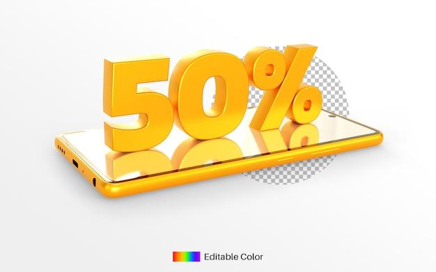 Gouden percentage van 50% op 3d-rendering van smartphones