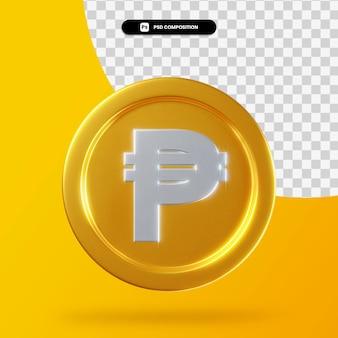 Gouden peso munt 3d-rendering geïsoleerd