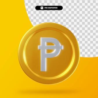 Gouden spaanse peseta munt 3d-rendering geïsoleerd