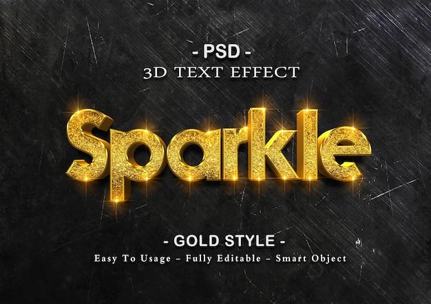 Gouden sparkle teksteffect sjabloon