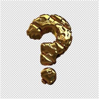 Gouden symbolen gemaakt van ruwe diagonale staven. 3d-symbool