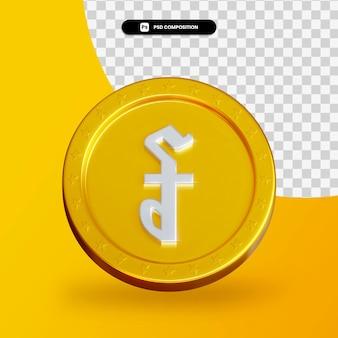Gouden uitwisseling munt 3d-rendering geïsoleerd
