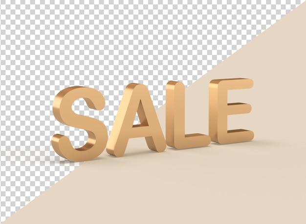 Gouden verkoop tekst 3d-rendering